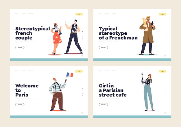 French stereotypes and traditions concept landing page set