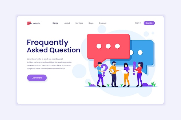 Frequently asked question or faq concept people with near big exclamation and question mark symbol illustration
