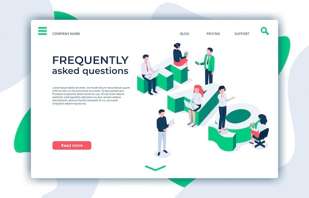 Frequently asked questions. asking question, ask about and faq landing page isometric  illustration