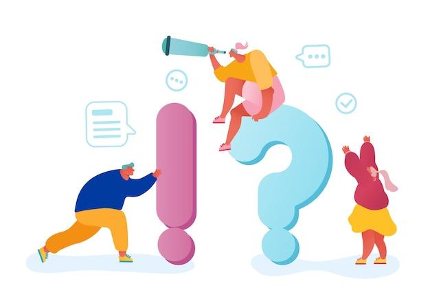 Концепция часто задаваемых вопросов. деловые люди вокруг огромных вопросительных и восклицательных знаков ищут информацию и ответы.
