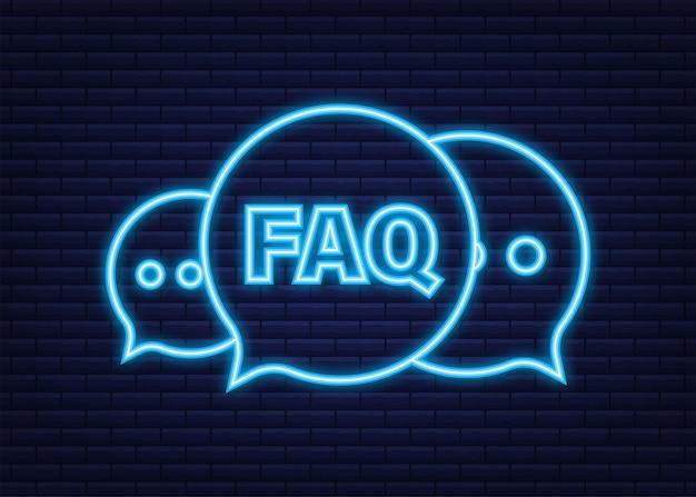 자주하는 질문 faq 배너입니다. 네온 아이콘입니다. 질문 아이콘이 있는 컴퓨터. 벡터 일러스트 레이 션.