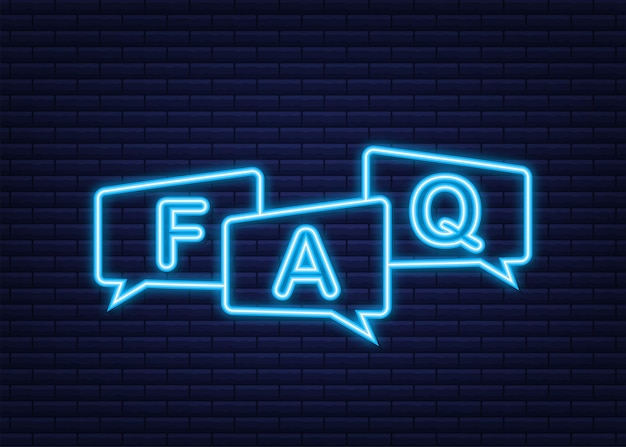 Frequently asked questions faq banner. neon icon. vector stock illustration.