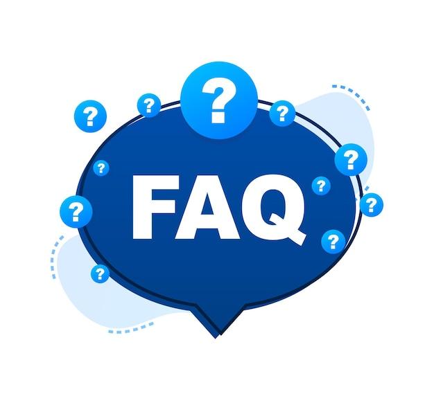 Часто задаваемые вопросы faq баннер. речи пузырь с текстом faq. векторная иллюстрация штока.