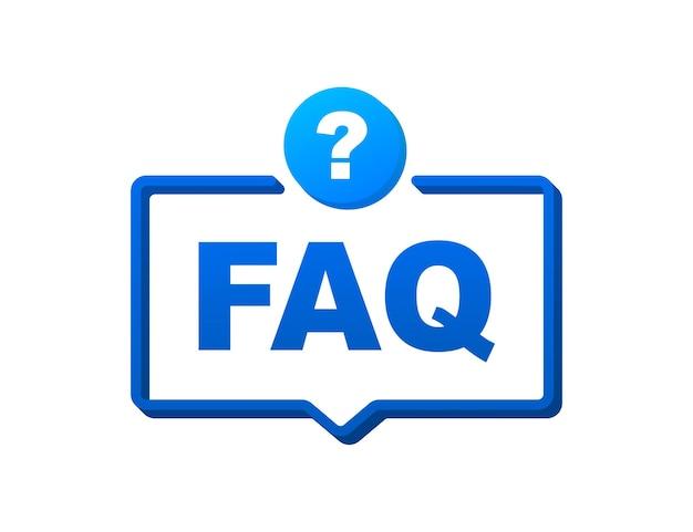 자주하는 질문 faq 배너입니다. 텍스트 faq가 있는 말풍선입니다. 벡터 재고 일러스트 레이 션.