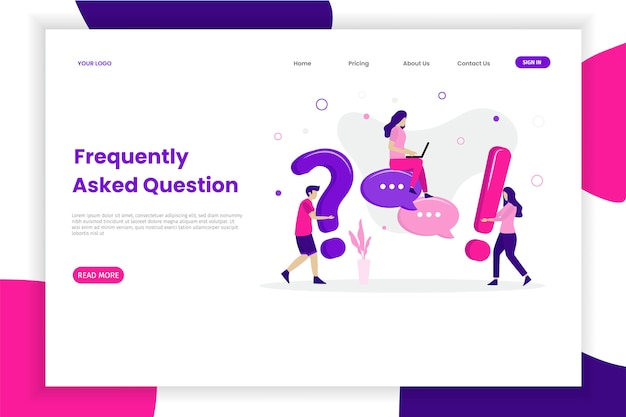 Frequently asked questions landing page Premium Vector