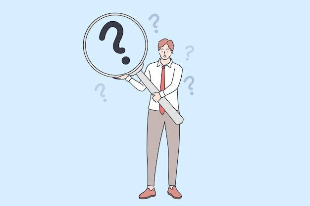 자주 묻는 질문, 질문, 조사 개념. 돋보기를 들고 젊은 사업가 만화