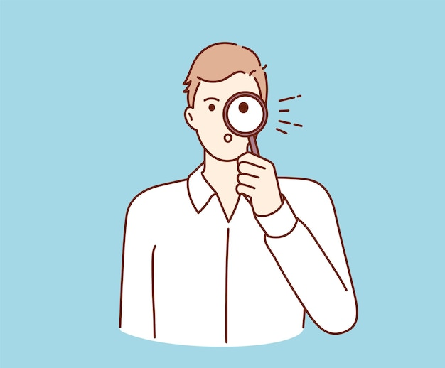 Часто задаваемые вопросы, запрос, расследование, поиск информации. молодой бизнесмен мультипликационный персонаж, держащий увеличительное стекло и просматривающий поиск информации.