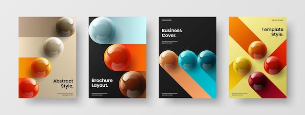 Fresh 3d balls presentation concept set