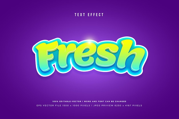 Fresh 3d text effect on purple background