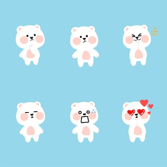 Fresh adorable polar bear character  illustration asset collection