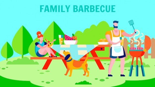 Fresh air family barbecue flat banner template