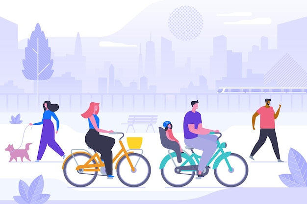 Fresh air recreation flat vector illustration. smiling young people in park cartoon characters. woman and man with child riding bicycles. girl walking dog, guy on phone. happy citizens on stroll
