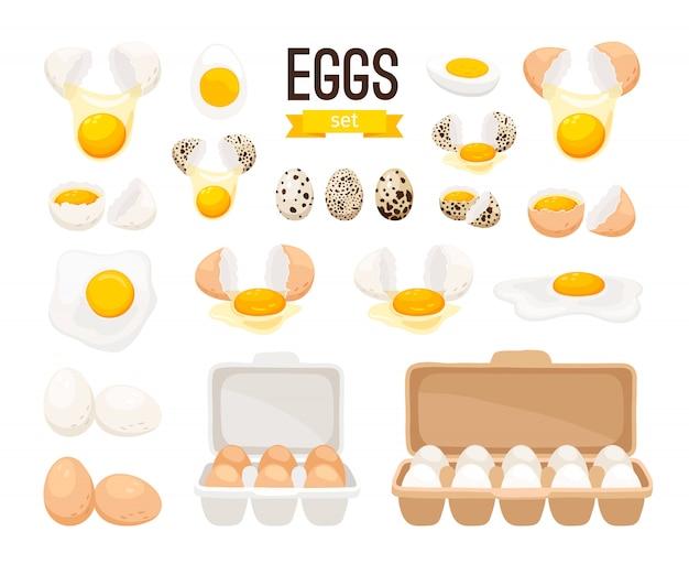 Свежие и вареные яйца