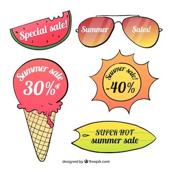 여름 판매를위한 신선하고 다채로운 레이블