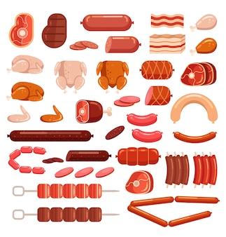 신선하고 조리 된 닭고기 돼지 고기와 소 쇠고기 고기 컷 슬라이스 소시지 슈퍼마켓