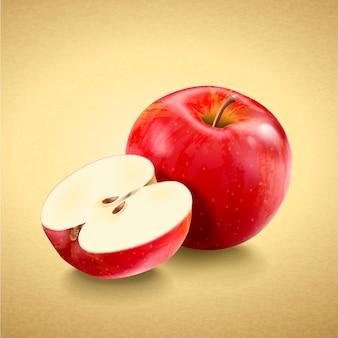 新鮮でおいしいリンゴ、黄金色の背景に分離された3dイラストの赤い熟したリンゴ
