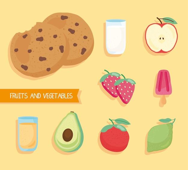 レタリングイラストと新鮮でおいしい食べ物や果物