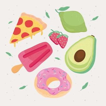 Свежие и вкусные пищевые иконки вокруг иллюстрации