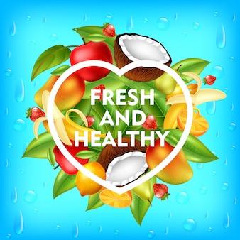 신선하고 건강한 과일 배경