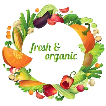 Композиция из свежих и органических спелых овощей с круглыми символами и редактируемым текстом