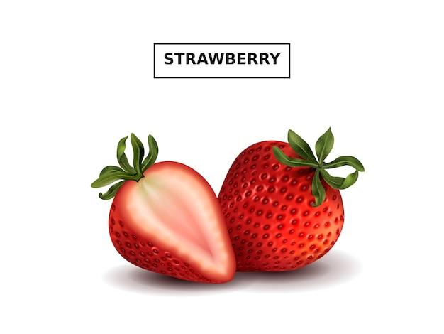 新鮮で熟したイチゴ、白で隔離の3dイラストのおいしい果物