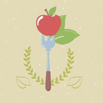 포크에 신선한 사과