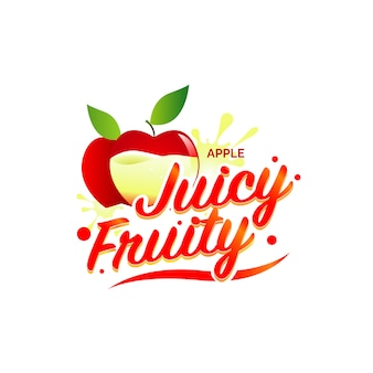Fresh apple juice logo illustration