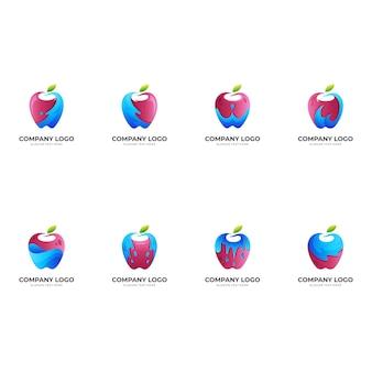 新鮮なリンゴのロゴ、リンゴと水、3dカラフルなスタイルの組み合わせのロゴ