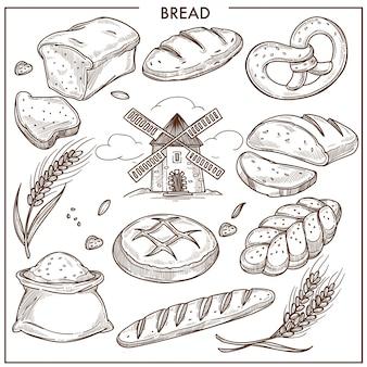 신선한 향기로운 밀과 호밀 빵 덩어리, 피그 테일 형태의 롤빵, 밀가루 봉지