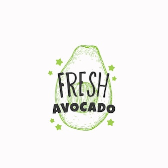 Fresh avocado badge label or logo template hand drawn fruit sketch with playful typography premium f...