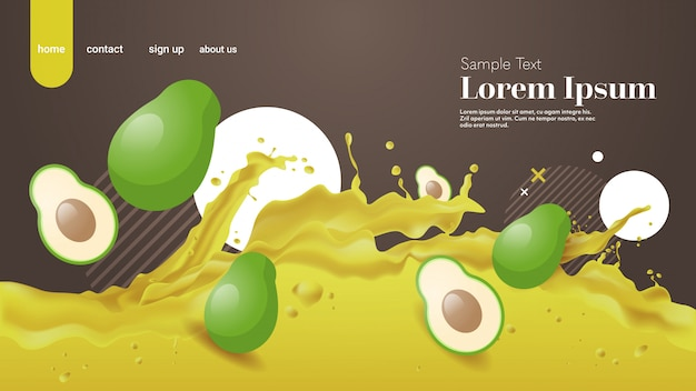 Fresh avocado juice liquid splash realistic splashes healthy fruits splashing waves horizontal copy space