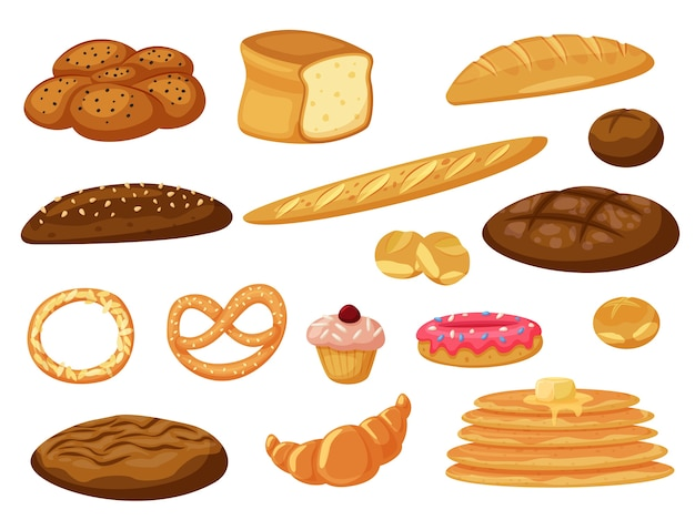 Свежий испеченный хлеб и блины, булочки из теста, изолированные на белом