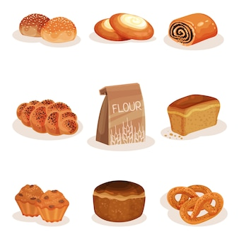 Fresh baked bread and bakery pastry products set, braided loaf, bun, cheesecake, pretzel muffins  illustration on a white background