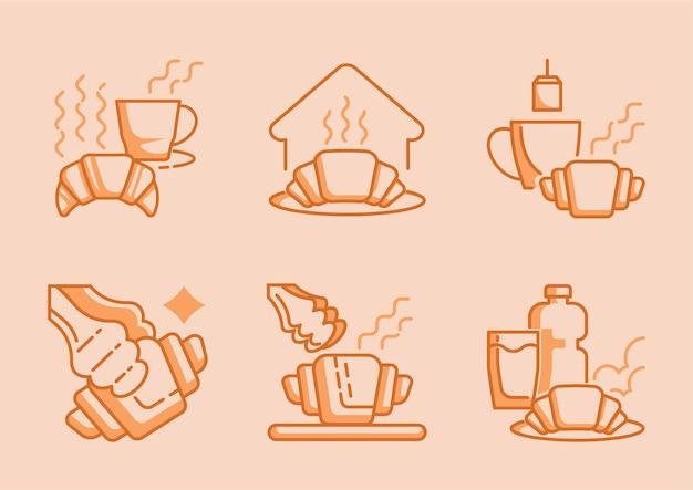 갓 구운 크루아상과 뜨거운 커피 아이콘 디자인 프리미엄 벡터