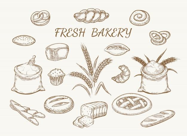Fresh bakery elements sketch