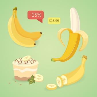 Свежие фрукты банан, коллекция векторных иллюстраций. набор бананов. очищенные и нарезанные бананы