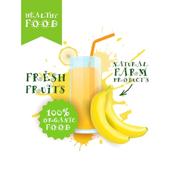 Fresh banana juice logo natural food farm products label over paint splash