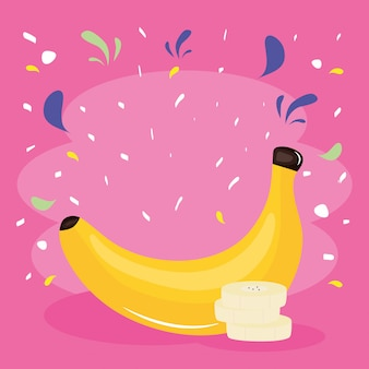 Fresh banana tropical fruit with confetti splash