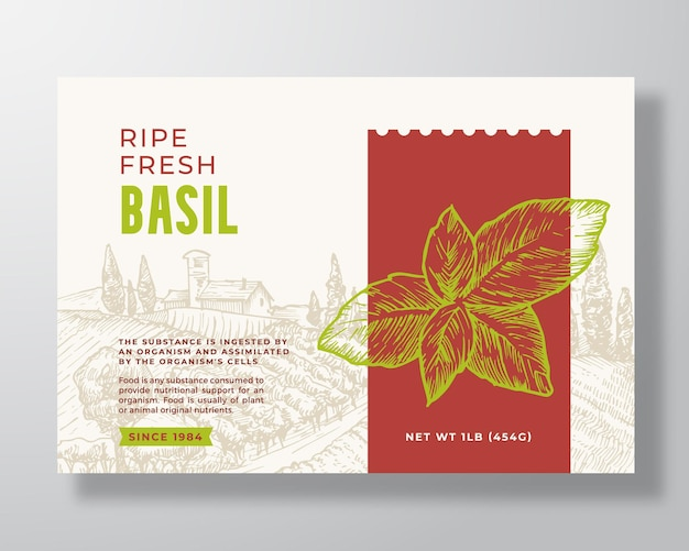 新鮮なバジル食品ラベルテンプレート抽象的なベクトルパッケージデザインレイアウト現代のタイポグラフィバナーウィット...