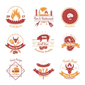 Fresh bbq emblems collection