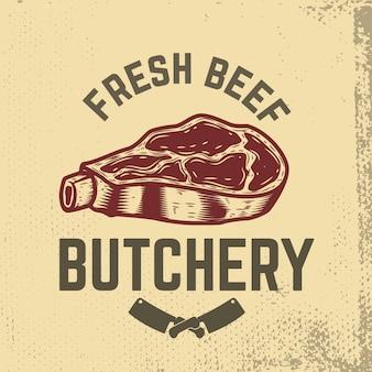 Свежая говядина. мясопереработка. ручной обращается сырое мясо на фоне гранж. элементы для меню ресторана, плакат, эмблема, знак. иллюстрации.