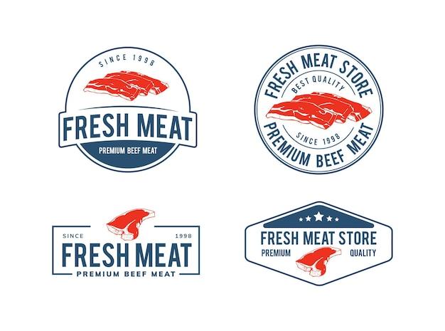 新鮮な牛肉のロゴのテンプレートデザイン