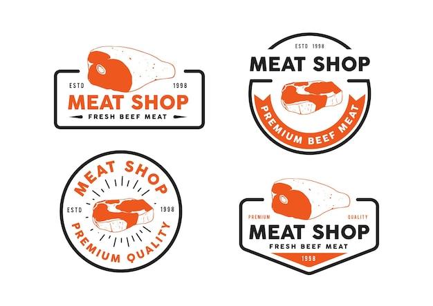 신선한 쇠고기 로고 템플릿 디자인