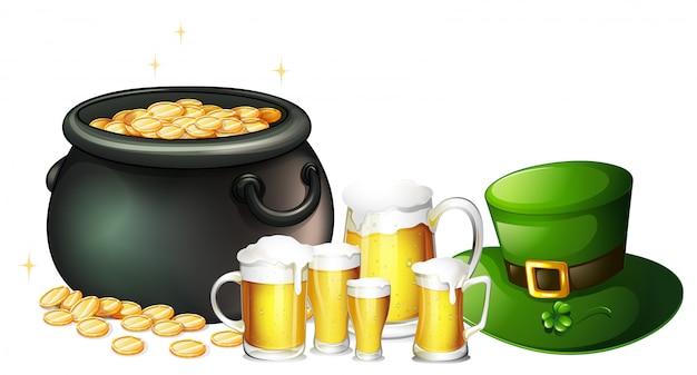 Свежее пиво и горшок с золотом на день святого патрика