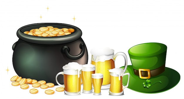 Fresh beer and pot of gold for st patrick day