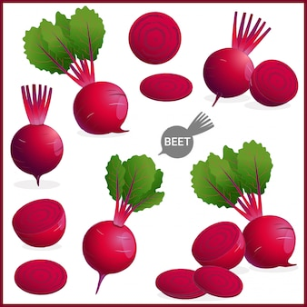Fresh beet or red beetroot vegetable with green leaves