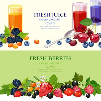 Fresh berries flat banners set