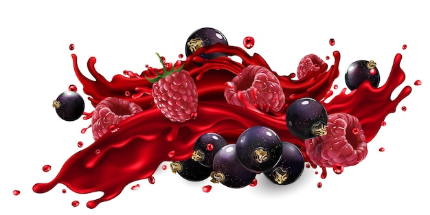 Fresh black currant and raspberry in a splash of fruit juice on a white background.