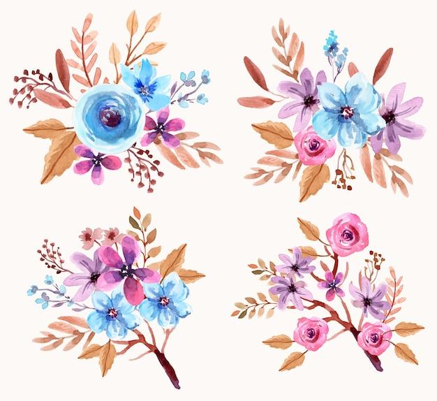 신선한 파란색과 보라색 꽃 수채화 배열 세트