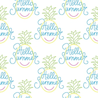 Fresh blue yellow pineapples vector repeat seamless pattrern yellow colors